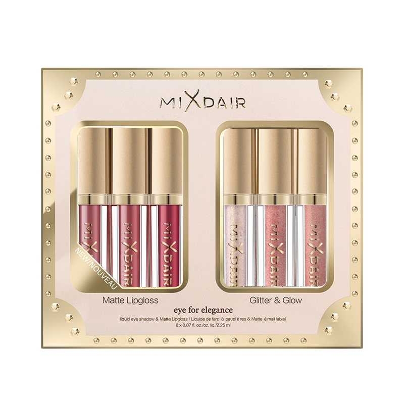 6 Pcs/Set Matte And Shimmer Lip Gloss Set Sparkly Shimmer Waterproof Long-Lasting Highlighter No Makeup Remover Lipstick Set