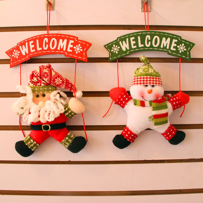 1 Pcs Christmas Pendant Door Decoration Santa and Snowman Pendant Party Christmas Home Decorations Pendant Christmas Supplies