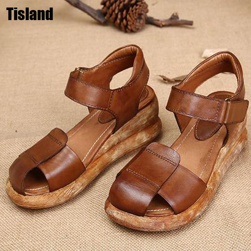 2017 Summer Shoes Retro Vintage Women Sandals Genuine Leather Flat Shoes Fashion Platform Wedage Casual Sandals Size 34~40 rieker туфли открытые rieker 63678 14