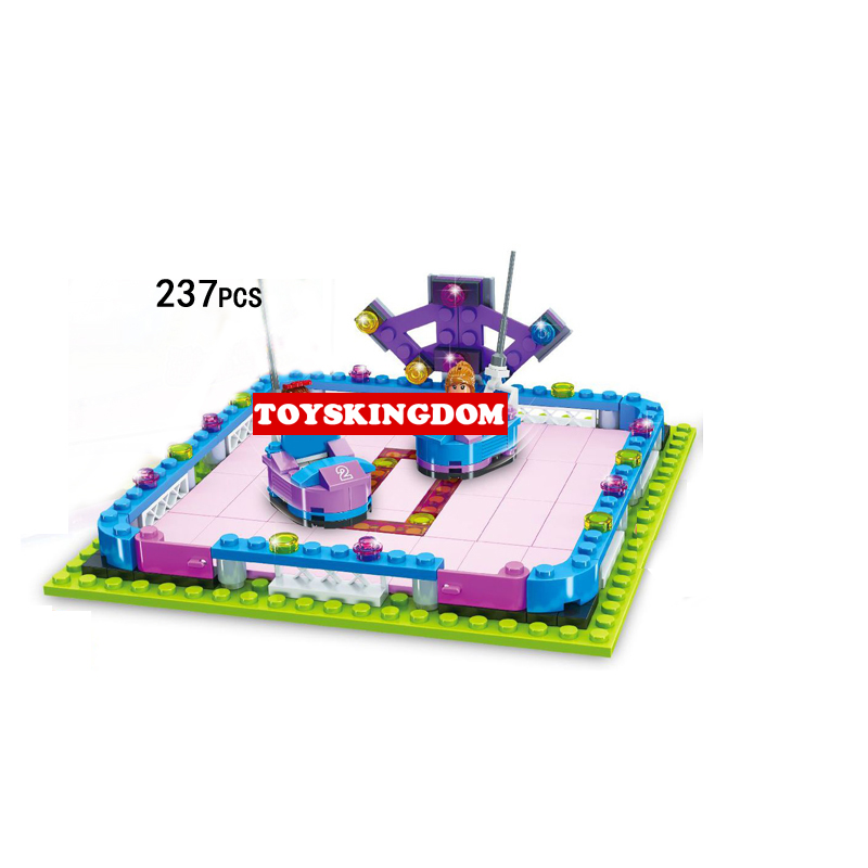 Funny city funland amusement park Bumper car building block boys girls Administrator figures educational brick toys for kid gift