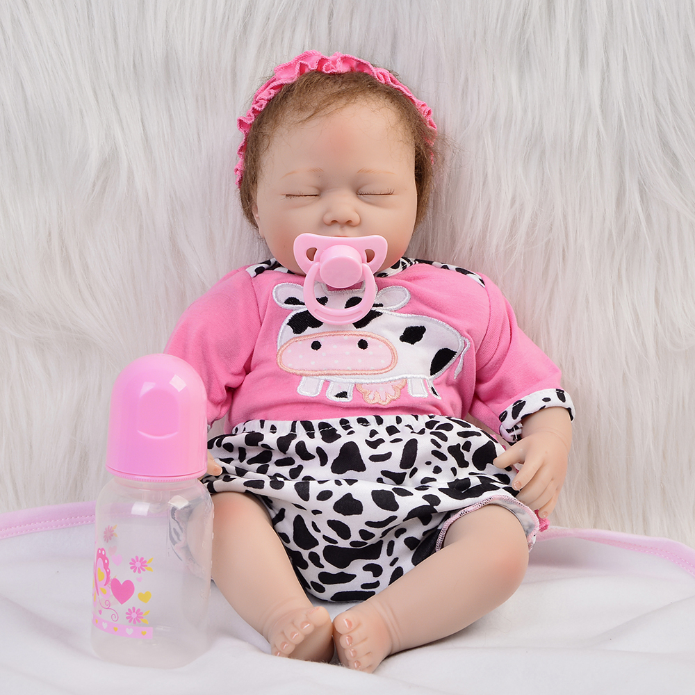 Wholesale Reborn Dolls Babies Silicone Vinyl For Girls Gifts 22  55 CM Lifelike Close Eyes Lovely Children Baby Playmates Toys free shipping hot sale real silicon baby dolls 55cm 22inch npk brand lifelike lovely reborn dolls babies toys for children gift