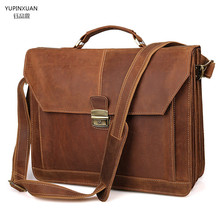 YUPINXUAN Men's Large Business Bags Cow Leather Briefcases 16″ Laptop Briefcase Big Size Leather Handbags Cowhide Computer Bags