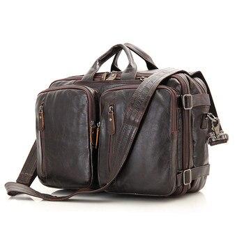 882339a5b2a1 Nesitu Винтаж кофе пояса из натуральной кожи для мужчин Портфели портфель  сумка мужская плеча бизнес дорожные сумки M7014