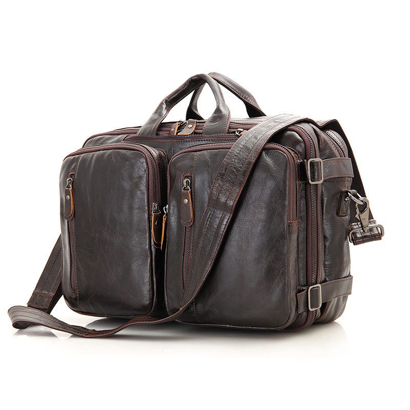 Nesitu Vintage Coffee Genuine Leather Men Briefcase Portfolio Men Messenger Bag Handbag Male Shoulder Business Travel Bags M7014