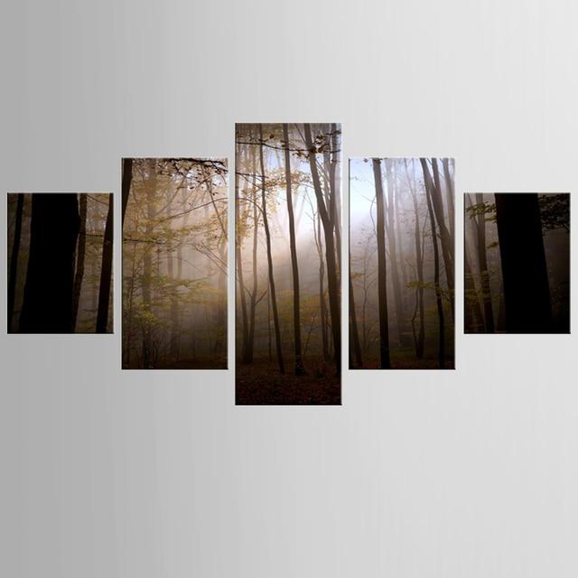 US $12.69 49% OFF|5 panel rahmen dark großen wald leinwand home decoration  wohnzimmer leinwand druck moderne malerei in 5 panel rahmen dark großen ...