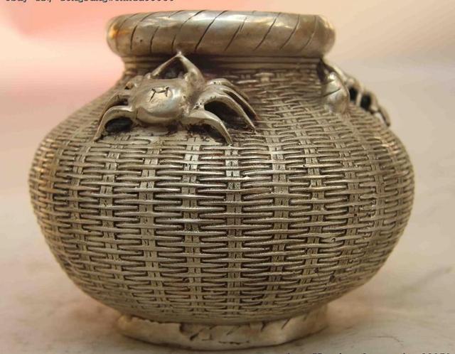 Fengshui Folk Branco Cobre Prata Crab Pot Jar Crock Cesta de Peixes Aquário Estátua