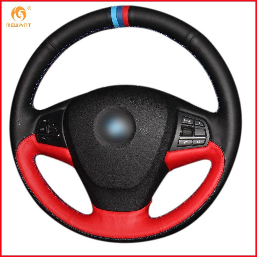 MEWANT Black Red Genuine Leather Car Steering Wheel Cover