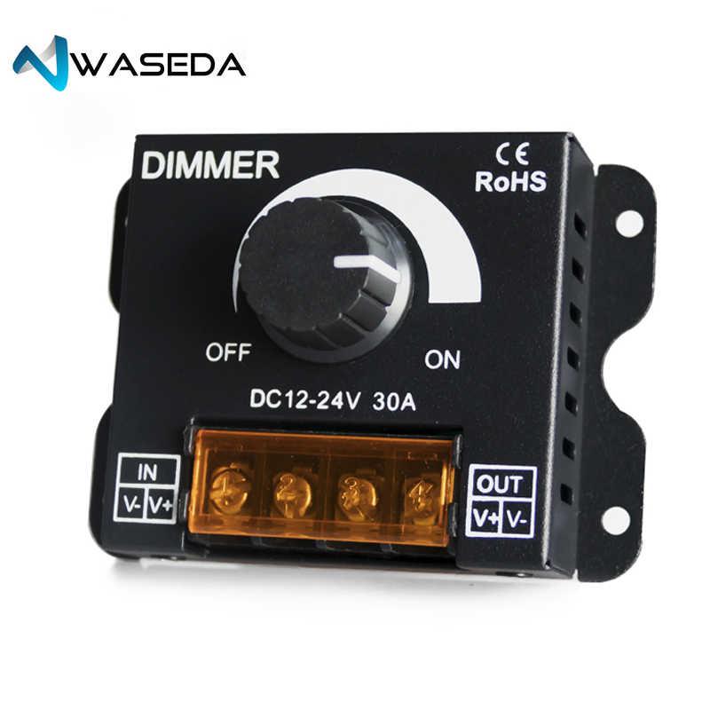 WASADA sterownik ściemniacza regulowana jasność sterownik dla pojedyncze kolorowy pasek LED lampa światła wstążka 30A przełącznik ściemniacza WS-30A-D