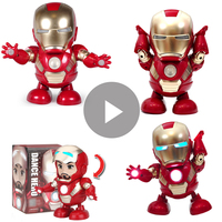 10Pcs/Lot Dancing Iron Man Action Figure Toy Real Tony LED Flashlight Music The Avengers 4 Iromen Hero Swing Marvel Toys Gift