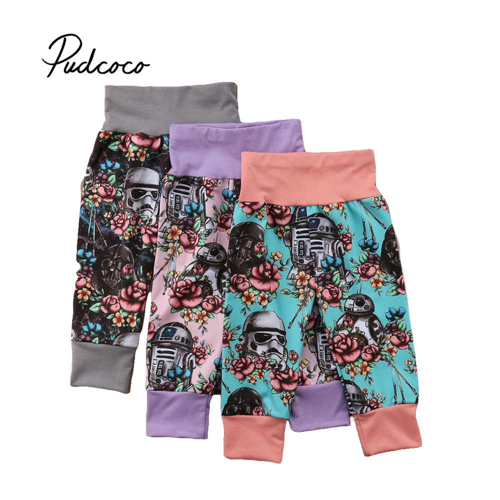 Pudcoco 2018 New Cartoon Toddler Kids Baby Girls Boys Pants Star War Floral Print Pants Leggings Trousers 1-5T floral print ombre yoga leggings