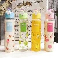 Plastic Water Bottle 350ml Creative Cartoon Lemon Ice Cream Cute Transparent Portable Drinkfles Outdoor Camping My