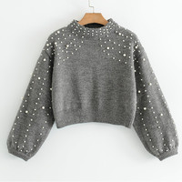 2018 Fashion Pearl Beaded Knitted Sweater Women Pull Chic Cropped Tops Autumn Winter Semi High Collar