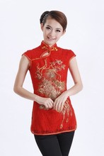 Hot Sale Red Female Lace Tang Suit Chinese Sexy Slim Shirt Tops Embroidered Blouse Crochet Clothing Size S M L XL XXL J011-B