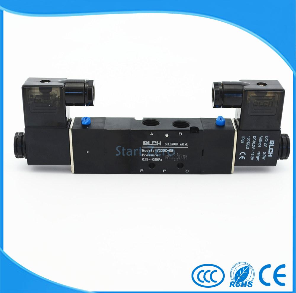 High quality Blacl Pneumatic Electric Solenoid Air Valve 5 Way 3 Position BLCH 4V230C-08 5 way pilot solenoid valve sy3220 4g 02