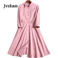 Jvzkass 2018 spring new womens Korean temperament waist slim pink dress female Z145