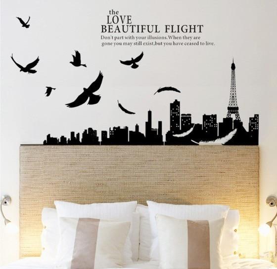 paris eiffel tower city night scene wall sticker decals adesivo