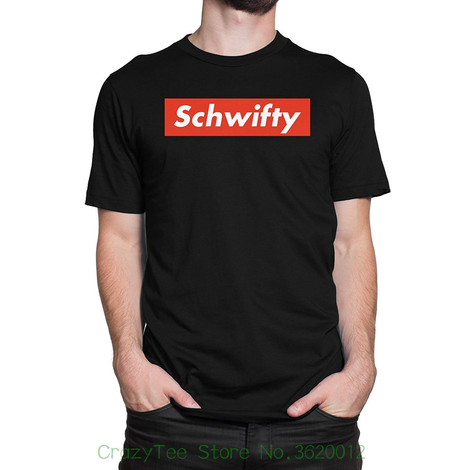 Brand Cotton Men Clothing Male Slim Fit T Shirt Schwifty Mens Print Haus T-shirt