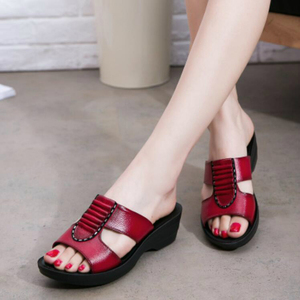 Image 3 - NEW Summer Mother Sandals Fashion Ladies Soft and Comfortable Casual Large Size Shoes Woman Slope with Slippers W04
