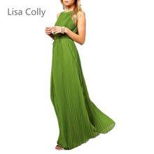 9b58924e5ff6d Lisa Colly Yeni Moda Yaz elbise Kadın Uzun Koyu yeşil pileli elbise Kadın  Parti elbise törenlerinde vintage zarif