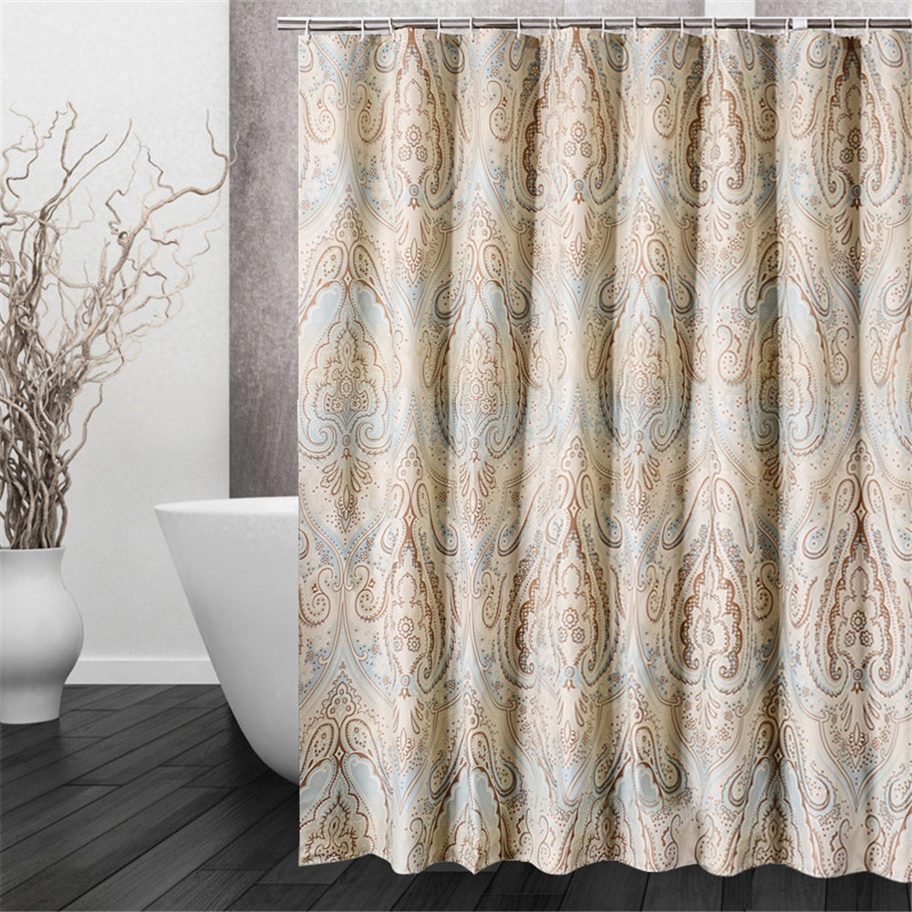 Luxury bathroom curtains - Advanced Retro Graceful Luxury Vintage Vogue Floral Pattern Waterproof Anti Mould Bathroom Shower Curtain With