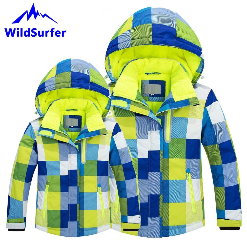 WildSurfer Parent enfants veste de Ski hiver hommes femmes garçons filles Ski coupe-vent chaud neige vestes enfant Snowboard costumes W301