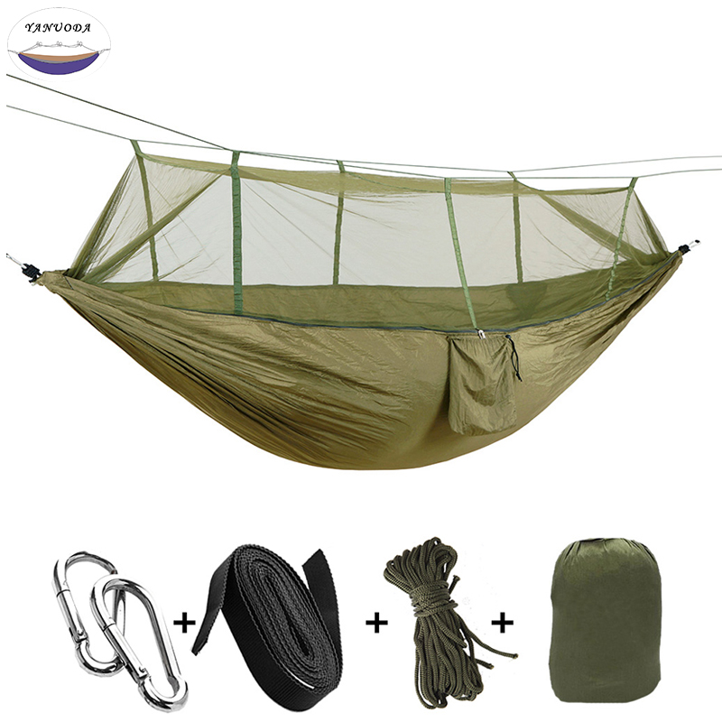 Portable Hammock High Strength Parachute Fabric ArmyGreen Hanging Bed With Mosquito Net For Outdoor Camping Travel цена