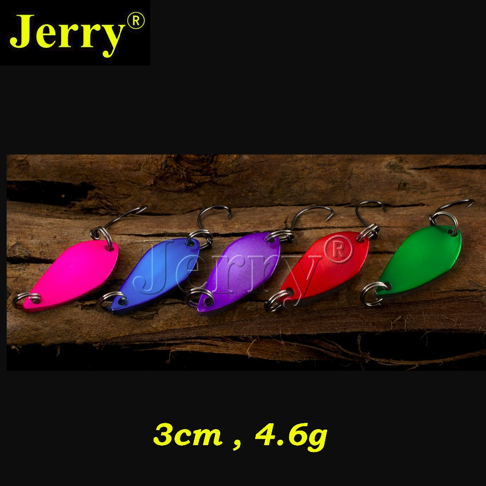 Jerry 5pcs 4.6g two-side colors fishing spoon lure trout bass spoons artificial bait freshwater bait