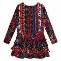 Nuevo Bebé de La Flor imprimió el Vestido de algodón Puro Niñas catimini Pastel Vestidos Europeos de manga larga ropa de Los Niños al por mayor