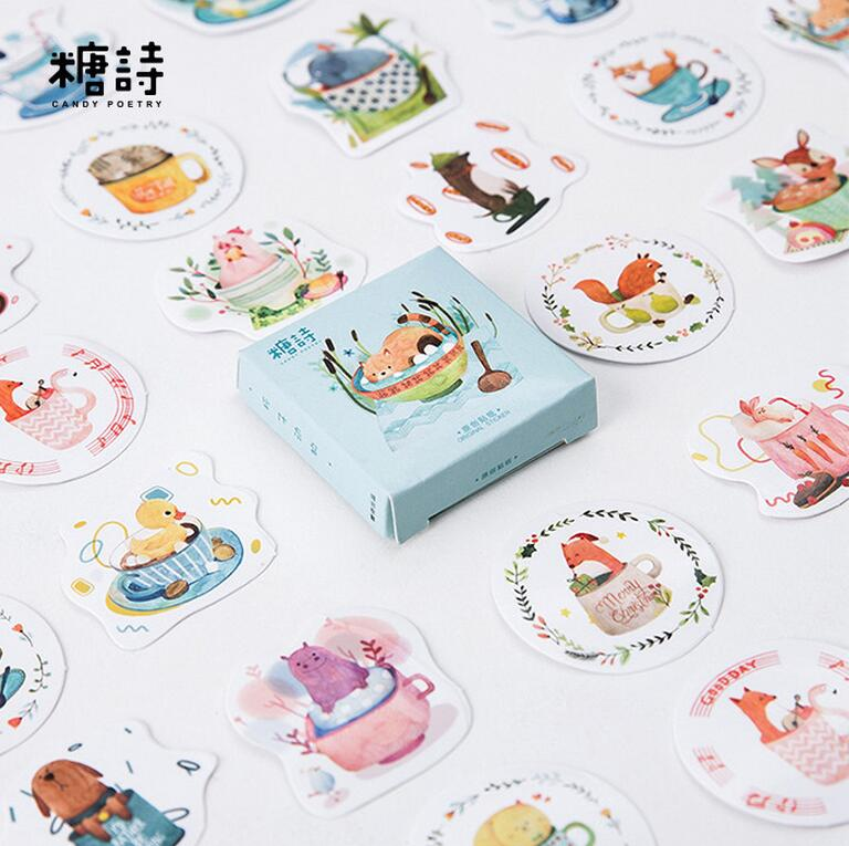 45 pcs/pack Cup Animals Decorative Stickers Adhesive Stickers DIY Decoration Diary Stickers lovely panda animals stickers adhesive stickers diy decoration stickers
