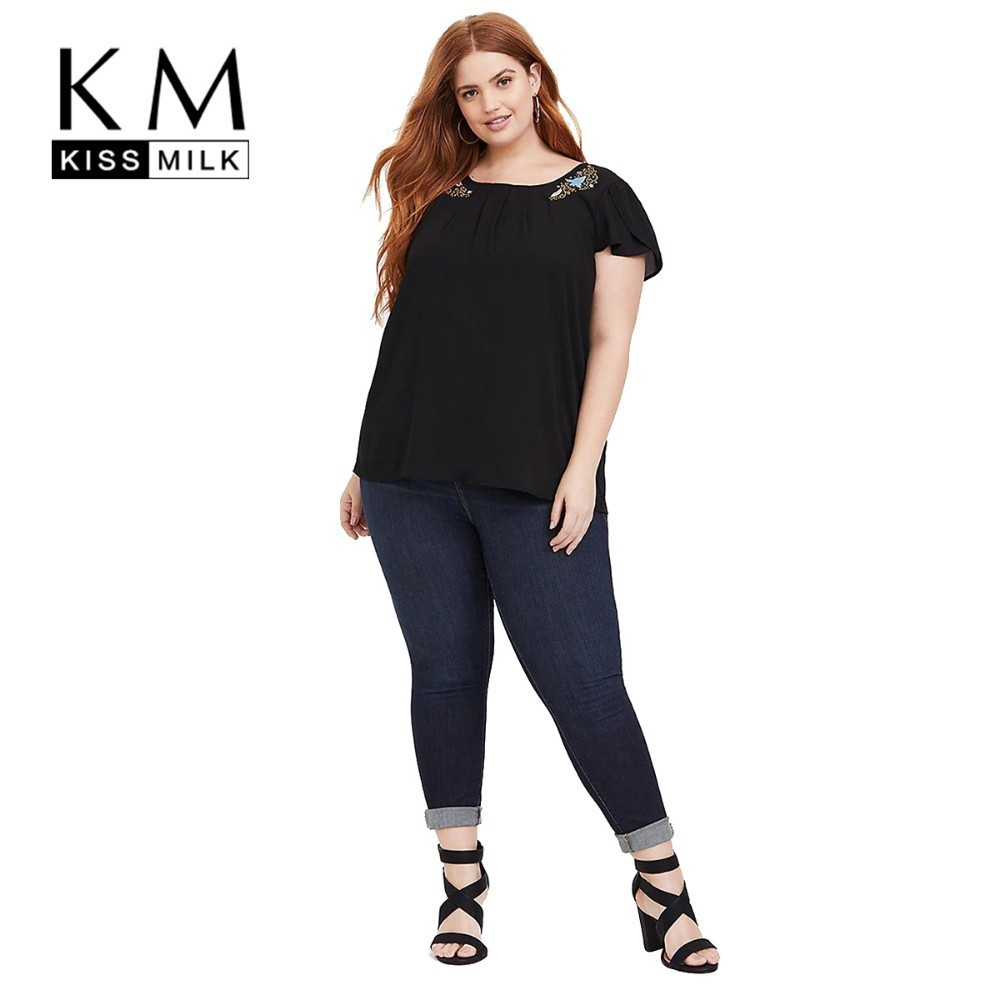 Kissmilk Plus Size Women Dresses Simple Casual Round Neck Pleated Lace Shoulder Asymmetric Pattern Embroidery Shirt in T Shirts from Women 39 s Clothing