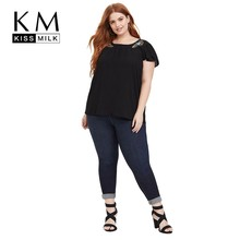 Kissmilk Plus Size Women Dresses Simple Casual Round Neck Pleated Lace Shoulder Asymmetric Pattern Embroidery Shirt