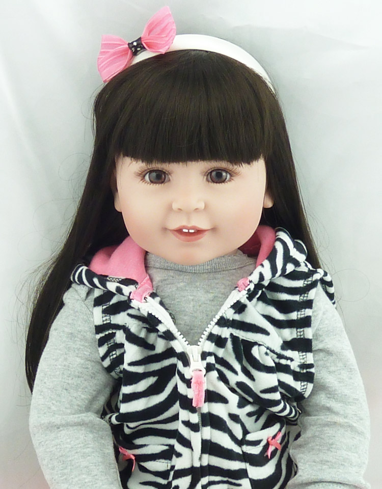 22 Inch Reborn Silicone Dolls Lifelike Doll Reborn Fashion Zebra Pattern Clothes Beautiful Long Hair Girl Kids New Year Presents