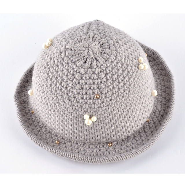 Fedora Hats for Women Vintage Knitting Wool Crushable Wide Brim hat chapeu  Floppy Pearls decoration Sun Top Caps Free Shipping a68e212e5d7