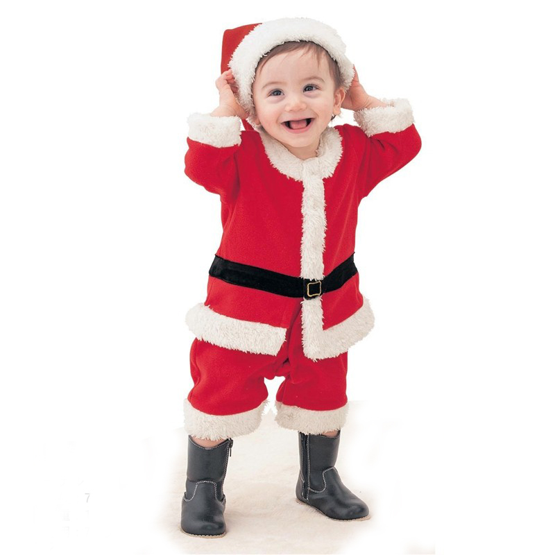 Baby Girl Clothes 2pcs Baby Boy Christmas Costume Set Fleece Outfit Baby Xmas Jumpsuit Hat New Years Costumes for Boys Suit