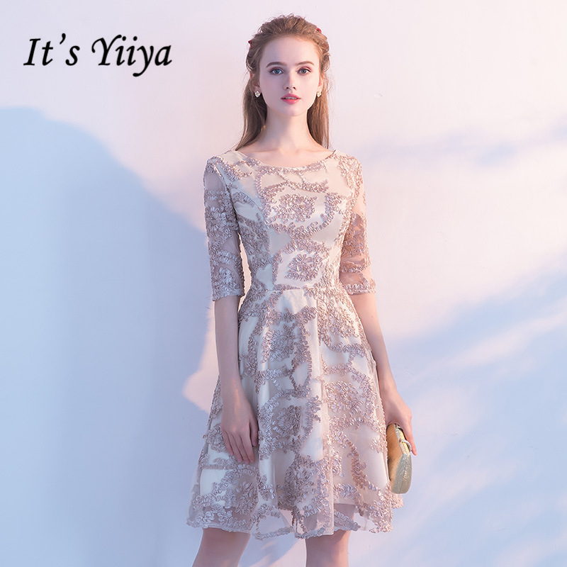 0cc600322c87c It's YiiYa Cocktail Dresses Short Sleeve 2018 Fashion Designer Flower  Pattern Lady Style Contrast ...