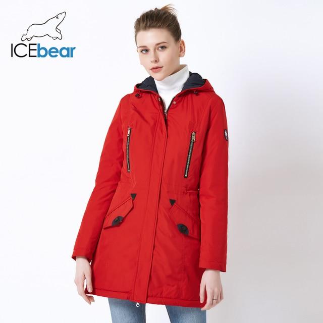 ICEbear 2019 חדש מותג בגדי אביב Parka נשים של ארוך מעיל עם חם נשים של מעיל אופנה נשי מעילי 16G262D