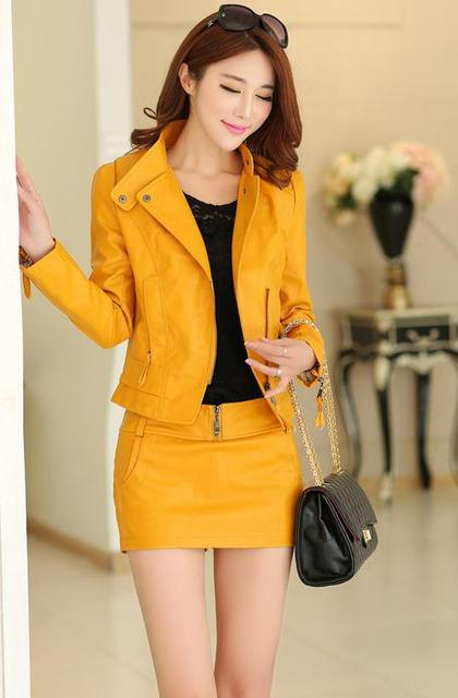28aca439689c High quality new slim brief paragraph favors women s leather skirt suit  with inclined zipper.