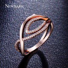NEWBARK Captivating Evil Eye Ring Tiny CZ Diamond Paved Rings For Women Rose Gold Plated Engagement Bague Fashion Jewelry Gift