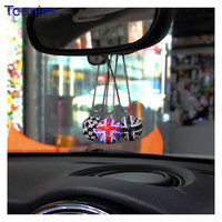 Mini Cooper Red Flag Car British Flag Ornament Coupe Paceman Cabrio Car Rearview Mirror Diamond Crystal