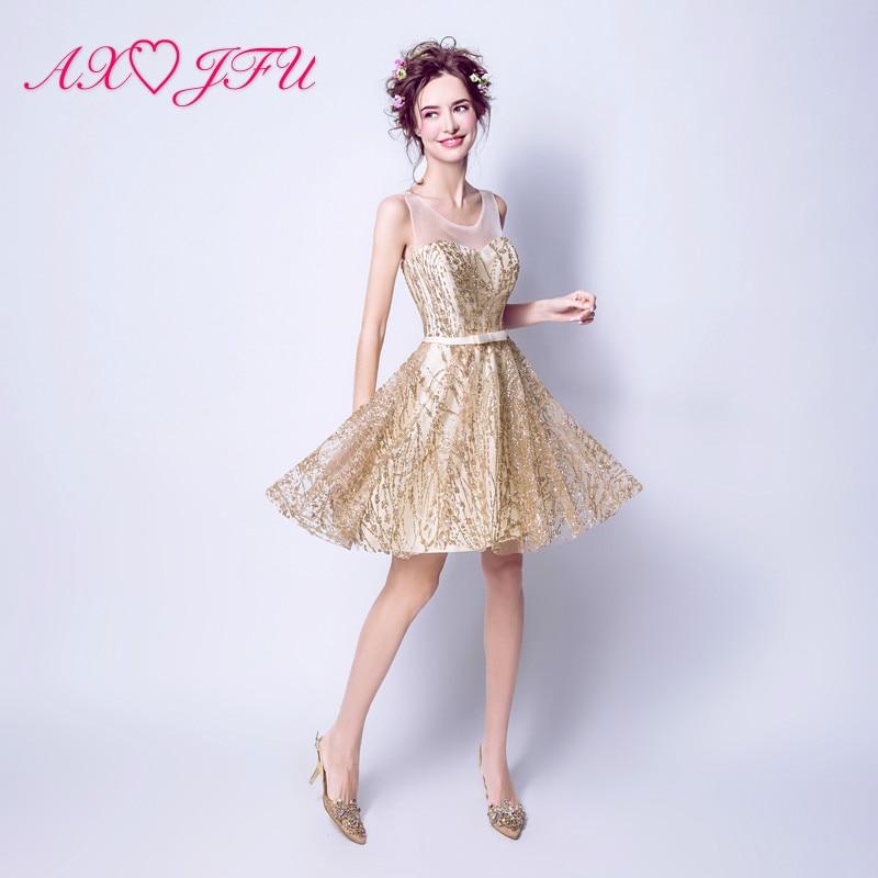 new styles cb539 9c07a US $55.4 9% di SCONTO|AXJFU Splendido piccolo oro vestito dorato stella  abito da sera corto vestito da pranzo del vestito da sera Della Principessa  ...