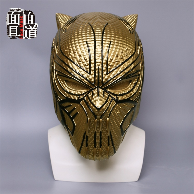 2018 Black Panther Gold Helmet Infinity War Leopard Gold Black Panther Superhero Helmet Props Halloween Party Prop