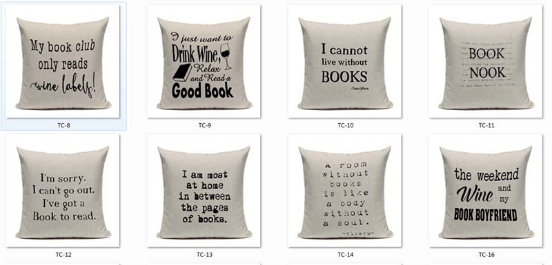 Book Tea Coffee Wine Cushion Cover Cotton Linen Decorative Pillowcase Chair Seat Letter Slang Pillow Cover Home Living Textile 1