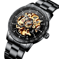 IK Colouring Automatic Watch for Men Women with Stainless Steel Strap Analogue Skeleton