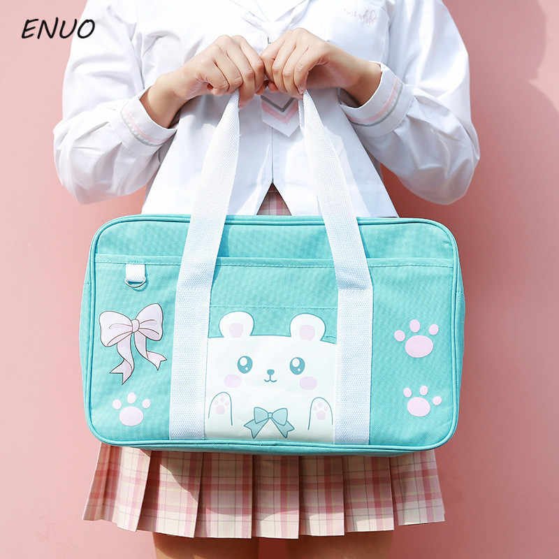 Cartoon Cat Pink Pig Student Schoolbag Japan JK Uniform COS Bag Canvas Single Shoulder Hand-held Cubs Commuter Bag College