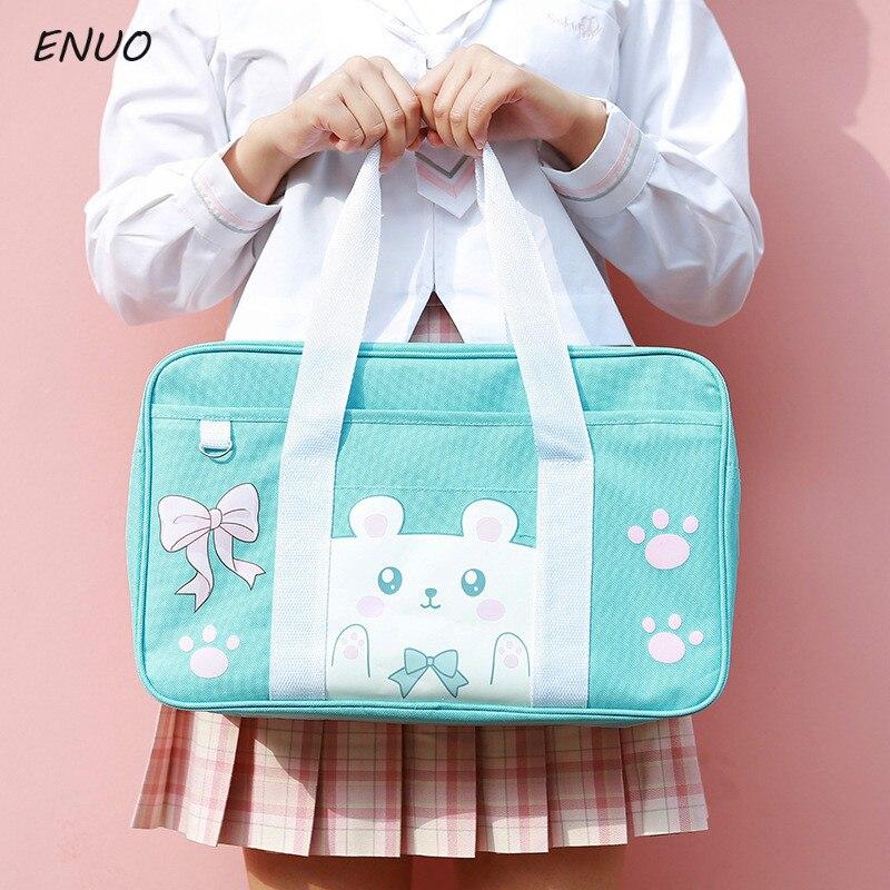 Cartoon Cat Pink Pig Student Schoolbag Japan JK Uniform COS Bag Canvas Single Shoulder Hand-held Cubs Commuter Bag College