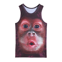 mens animal gorilla monkey printed 3D Tank Tops Exercise Sleeveless tops for boys bodybuilding clothing exercise undershirt vest