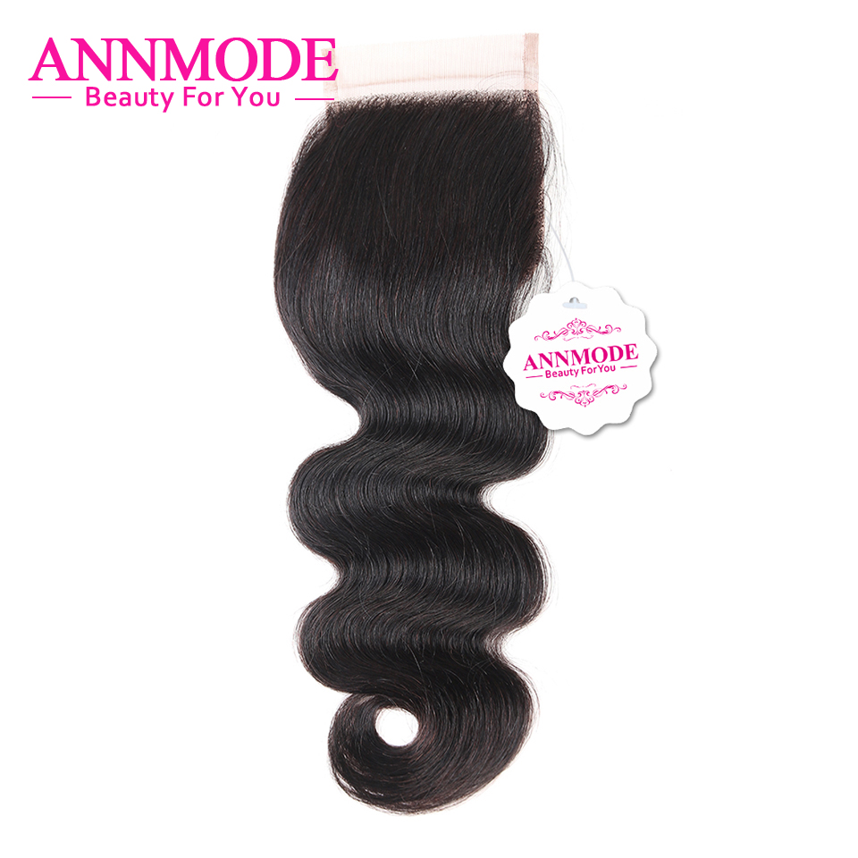 Annmode Indian Body Wave Lace Closure 4x4 Inch Swiss Lace Closure 100% Human Hair Closure Non Remy Hair Extensions