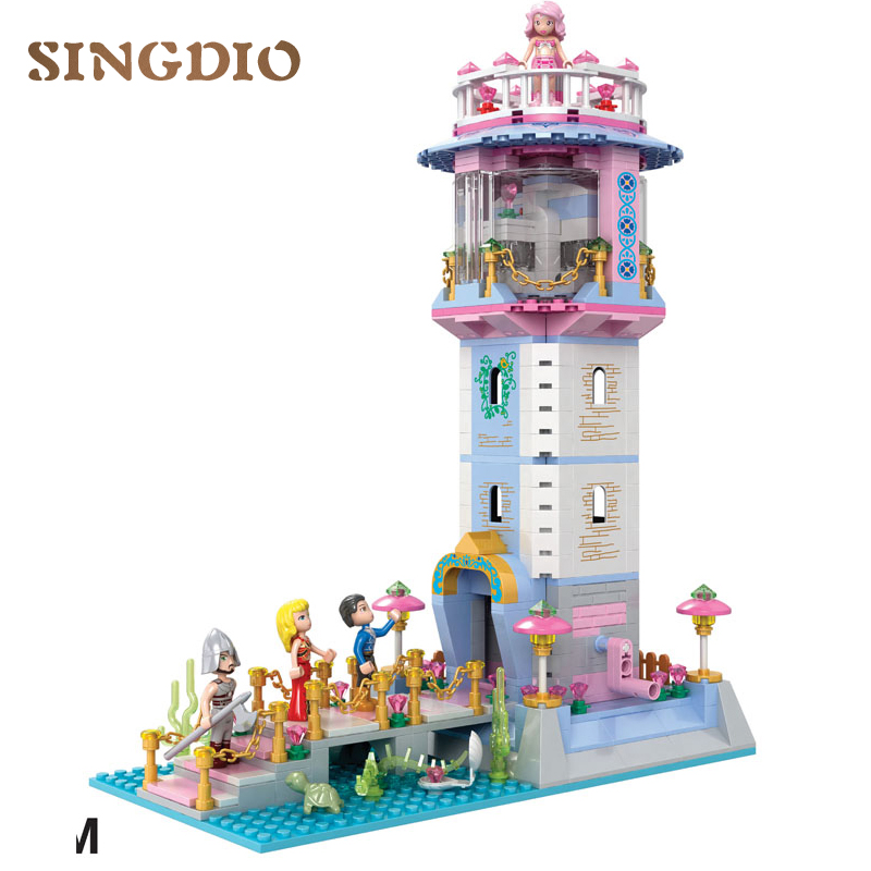 743PCS Mermaid building blocks DIY Early Learning enlighten Children construction Baby toys bricks educational toys blocks купить