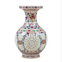 Antique Chinese style Palace Restoring Ancient Ways Jingdezhen Hollow White Ceramic Vase For Artificial Flower Decoration Vases