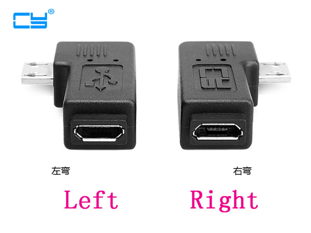 6mm Long plug Connector 90 Degree Right & Left Angled Micro USB 2.0 5Pin Male to Female M to F Extension connector Adapter 1PCS 1 pair right left angle micro usb male 90 degree usb male to micro female plug adapters hot worldwdie aqjg